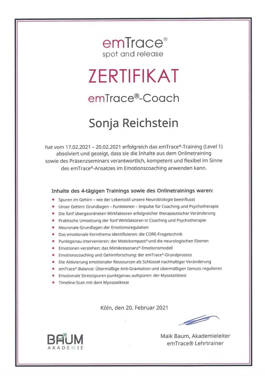 Zertifikat emTrace Emotionscoaching