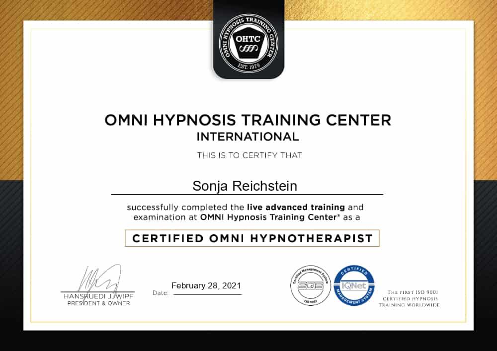 Hypnose-Therapeut Zertifikat